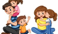 85194540-stock-vector-father-and-mother-with-three-kids-illustration